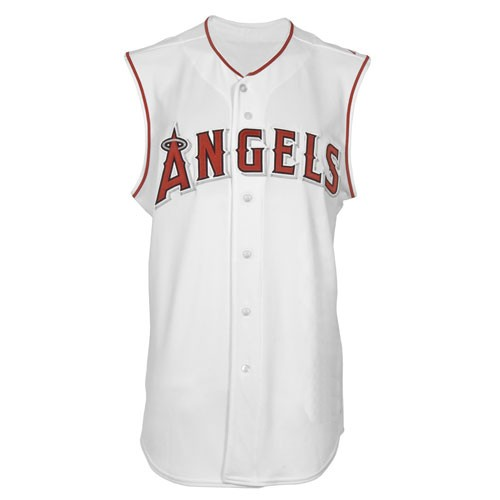 048df814de9 LA Angels Authentic Style Sleeveless Home White Jersey - Custom Made ...