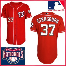 Washington Nationals Authentic Style 1st Alt Red Jersey #37 Stephen Strasburg
