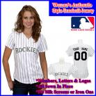 Colorado Rockies Authentic Personalized Women's White Pinstriped Jersey