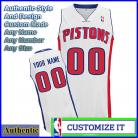 Detroit Pistons Custom Authentic Style Home Jersey White