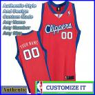 Los Angeles Clippers Custom Authentic Style Classic Road Jersey Red