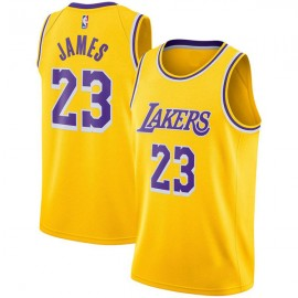 LeBron James #23 Los Angeles Lakers Authentic Style Home Gold Jersey