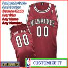 Milwaukee Bucks Custom Authentic Style Alternate Jersey Burgundy