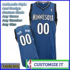 Minnesota Timberwolves Custom Authentic Style Road Jersey Blue