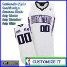 Sacramento Kings Custom Authentic Style Home Jersey White
