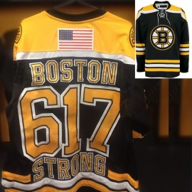 Bruins NHL Boston Strong 617 Black Hockey Game Jersey