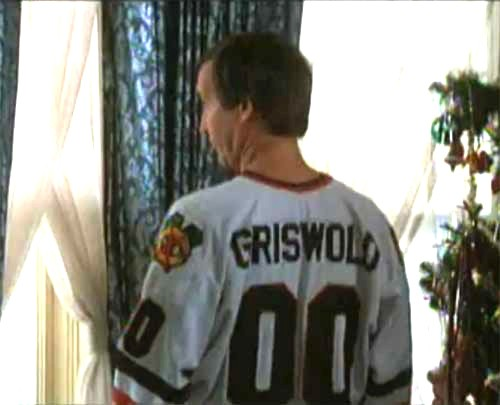 Christmas Vacation Movie Clark Griswold 00 White Hockey Jersey Close ... ab1e1e1bc10