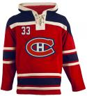 Mens Montreal Canadiens #33 Roy Red Lace Heavyweight Hoodie Hockey Jersey