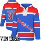 Mens NY Rangers #30 Lundqvist Royal Blue Lace Heavyweight Hoodie Hockey Jersey