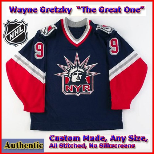 Wayne Gretzky 99 New York Rangers Authentic Style Alt Blue Hockey ... 25e69de217c