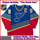 Wayne Gretzky 99 St Louis Blues Authentic Style Blue Hockey Jersey