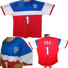 Team USA Mens Nike Style Away Red White Blue Soccer Jersey 2014/15