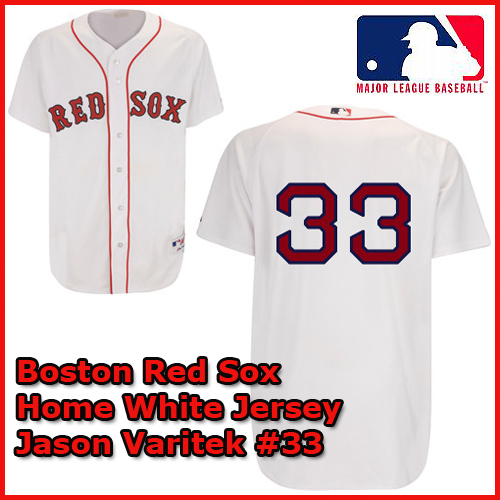 Boston Red Sox Authentic Style Home White Jersey Jason Varitek  33 ... 7a7d4700a5b