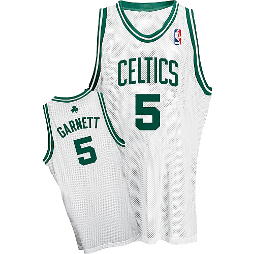 ... nba basketball jersey green 9446c f9dc1 wholesale boston celtics  authentic style home jersey white 5 kevin garnett 690a8 942a1 ... 3858af2b8