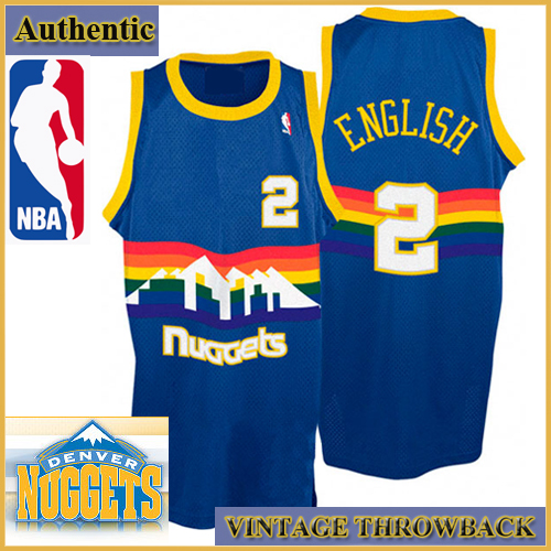 746abf5a5f55 Denver Nuggets Authentic Style Throwback Blue Road Jersey  2 Alex English