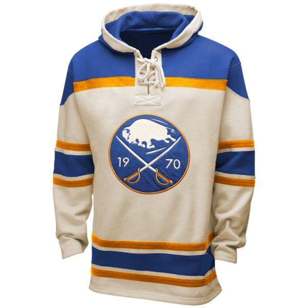 Mens Buffalo Sabres Old Time White Lace Heavyweight Hoodie Hockey Jersey ccf0d40001b
