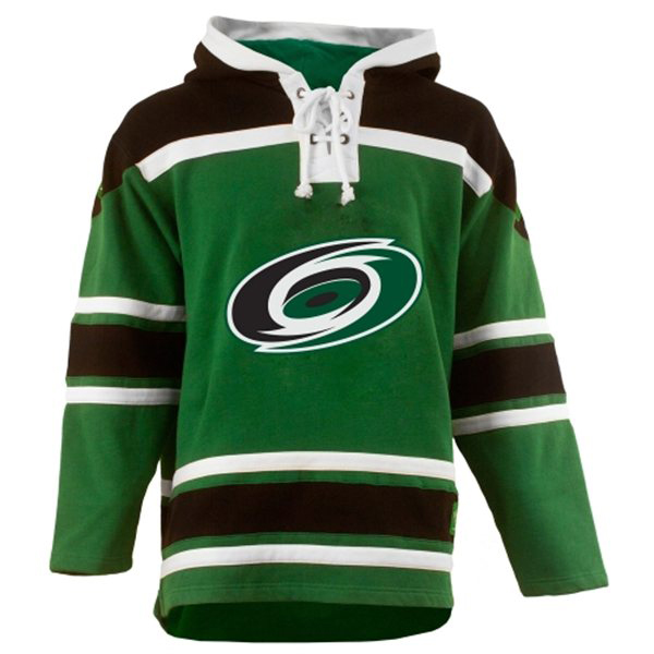 Mens Carolina Hurricanes Old Time St Pats Green Lace Heavyweight Hoodie  Hockey Jersey aeef9397c