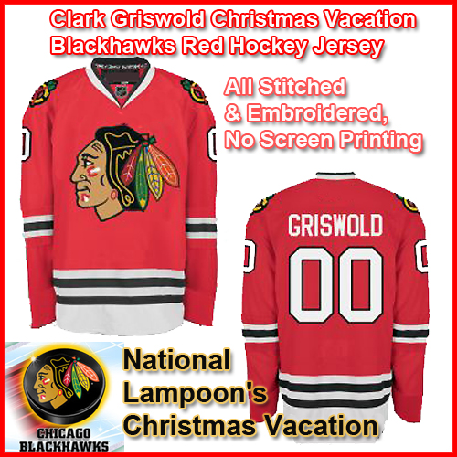 Chevy Chase Clark Griswold Christmas Vacation Blackhawks Red Hockey Jersey 8c9195a48031