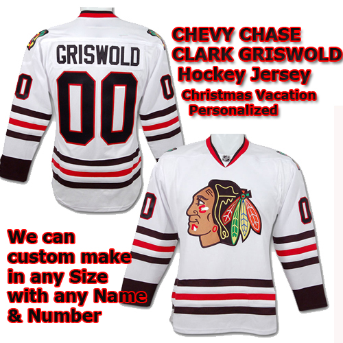 Chevy Chase Christmas Vacation Clark Griswold NHL Blackhawks White Hockey  Jersey d5fec3f069a