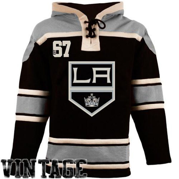 Mens LA Kings Old Time Black Lace Heavyweight Hoodie Hockey Jersey ... 0949c484295