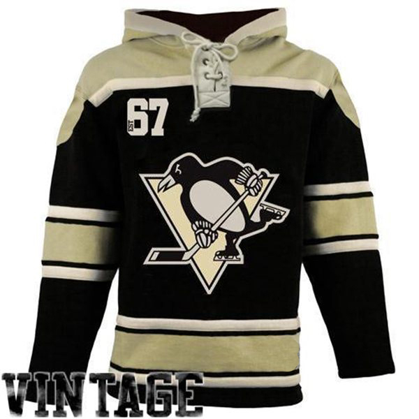 Pittsburgh Penguins Old Time Black Lace Heavyweight Hoodie Hockey Jersey 8fa3661f032