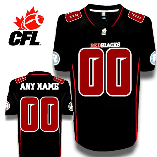 new styles c6074 9a95f CFL Custom Ottawa Redblacks Premier TC Black Football Jersey