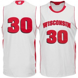 Wisconsin Badgers NCAA College White Basketball Jersey