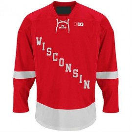 Wisconsin Badgers  NCAA College Red Lace Hockey Jersey