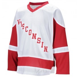Wisconsin Badgers  NCAA College White Hockey Jersey