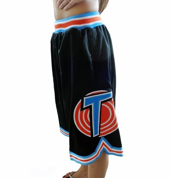 purchase cheap 29d1d 006a5 LOONEY TUNES SQUAD SPACE JAM MOVIE BLACK BASKETBALL SHORTS ...