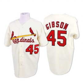 St. Louis Cardinals Legends Classic Home Jersey White #45 Bob Gibson