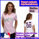 LA Dodgers Women's Personalized Fashion Pink Jersey