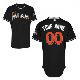 Miami Marlins Authentic Style Personalized Alternate 2 Black  Jersey