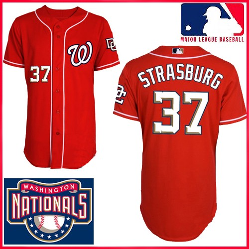 online store f313d 10ac0 Washington Nationals Authentic Style 1st Alt Red Jersey #37 ...