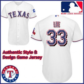 Texas Rangers Authentic Style Home White Jersey Cliff Lee #33