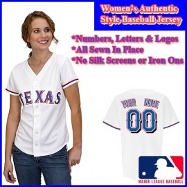 Texas Rangers Authentic Personalized Women's White Jersey