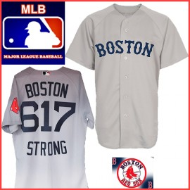 Red Sox Away Road BOSTON 617 STRONG Jersey Gray
