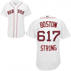 Red Sox Home BOSTON 617 STRONG White Jersey