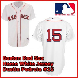 Boston Red Sox Authentic Style Home White Jersey Dustin Pedroia #15