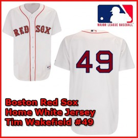 Boston Red Sox Authentic Style Home White Jersey Tim Wakefield  #49