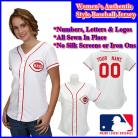 Cincinnati Reds Authentic Personalized Women's White Pinstriped Jersey