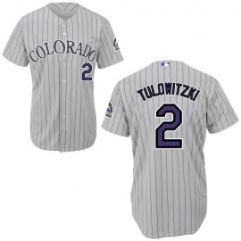 Colorado Rockies Authentic Style Gray Road Pinstriped Jersey #2 Troy Tulowitzki