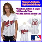 Minnesota Twins Authentic Personalized Women's White Pinstriped Jersey