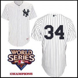 New York Yankees Authentic Style Home Pinstripe Jersey AJ Burnett #34