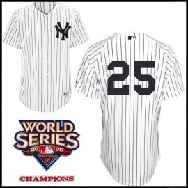 New York Yankees Authentic Style Home Pinstripe Jersey Mark Teixeira #25