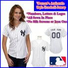 New York Yankees Authentic Personalized Women's White Pinstriped Jersey