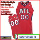 Atlanta Hawks Authentic Style Alternate NBA Basketball Jersey Red