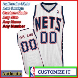 New Jersey Nets Custom Authentic Style Home Jersey White