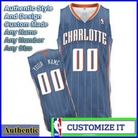 Charlotte Bobcats  Authentic Style Away NBA Basketball Jersey Blue Pinstripe (Custom or Blank)