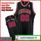 Chicago Bulls Custom Authentic Style Alternate Jersey Black